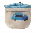 Cylindrical pouch S  Dot/ blue car