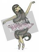 髭のバレリーナ ミニポスター / A4サイズ   by バカディッシュ (BahKadisch / Karin Ohlsson)
