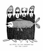怪しい男達 『Awesome fish』 ミニポスター / A4サイズ   by バカディッシュ (BahKadisch / Karin Ohlsson)