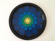 ヴィンテージ 鮮やかな紺色に青いお花のトレイ / イギリス