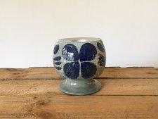 北欧 陶器のキャンドルホルダー(グレー&紺色) / スウェーデン