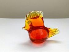 ガラス製 トサカのついた小さな鳥のオブジェ / 朱色 /  スウェーデン