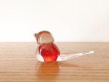 ガラス製 尾羽の長い鳥 /透明&朱色の玉模様 /スウェーデン