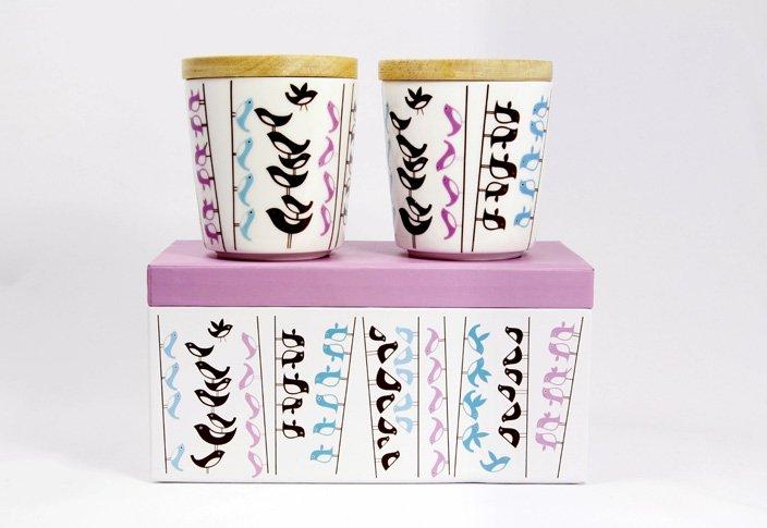 Lovebird (ラブバード)蓋つきカップ2個セット  by ISAK