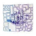 藤沢 まゆ/鳥シリーズ「自由な布 四角たち」(手描き染め/麻厚手)