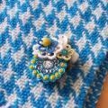 BIRD CAFE x 三友製作所「鳥のブローチ x 手織りのマフラー」(ウール/ブルー)