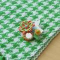 BIRD CAFE x 三友製作所「鳥のブローチ x 手織りのマフラー」(ウール/グリーン)