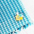 BIRD CAFE x 三友製作所「鳥のブローチ x 手織りのマフラー」(ウール/ブルー)2