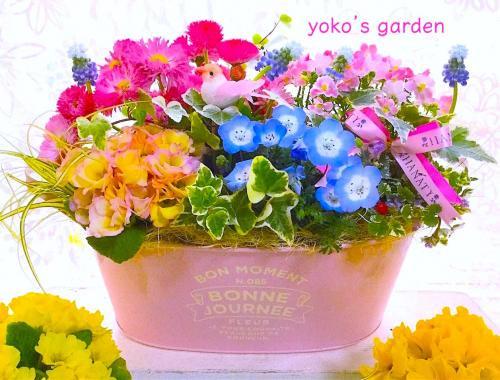 花 プレゼント 人気*幸せを願うサムシングブルーのムスカリ花鉢植えギフト(祝福バード付き)