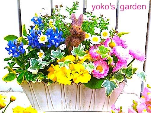 花プレゼント*夏のおまかせHAPPY花鉢ギフト(ピック付き)