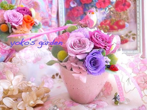 [お試し価格]花プレゼント*おしゃれプリザーブドフラワーギフト贈り物(送料無料)-ラブリーピンク-