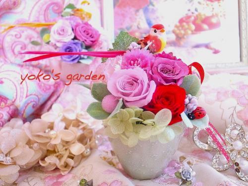 [お試し価格]花プレゼント*おしゃれプリザーブドフラワーギフト贈り物(送料無料)-ロマンティックレッド-