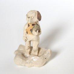くものりいぬ  【にしだ みき ・陶芸】 置物 芸術 かわいい オブジェ 陶土 不思議 ストーリー 物語 表現 作家 個性的 ユニーク おしゃれ 動物 アニマル イヌ わんわん 犬