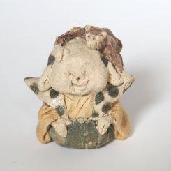 サルと福助 【にしだ みき ・陶芸】陶人形