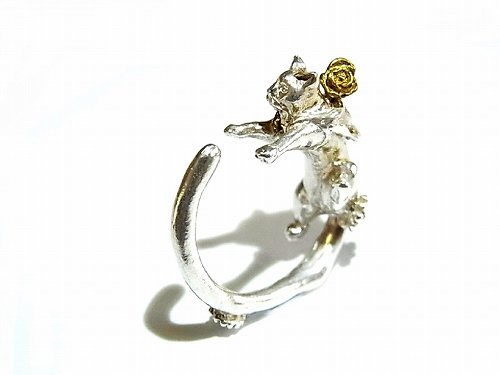 ソレイロネコ ピンキーリング (薔薇) (素材:シルバー 花部分:真鍮)【ホアシ ユウスケ/Yusuke Hoashi】 指輪 個性的 アクセサリー かわいい キャット ねこ 猫