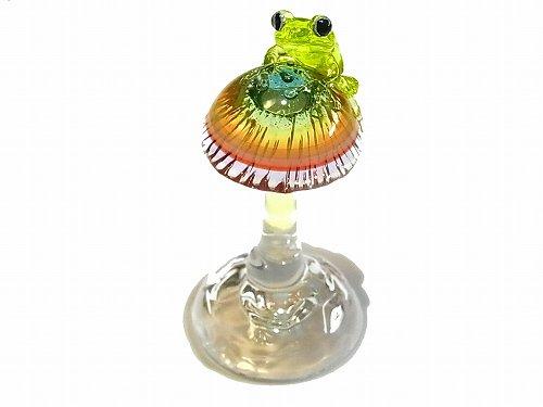 Frog on a Mshuroom オブジェ 【kengtaro/ケンタロー】 キノコ カエル ボロシリケイトガラス 職人 置物 蛙 かえる フロッグ 一点 インテリア 芸術 個性的 菌 き…