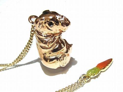 モルモット バッグチャーム ネックレス 【 cuir carameliser / クイール キャラメリゼ 】【ゆうメール 送料無料 】 アクセサリー ジュエリー 動物 スキニーギニアピ…