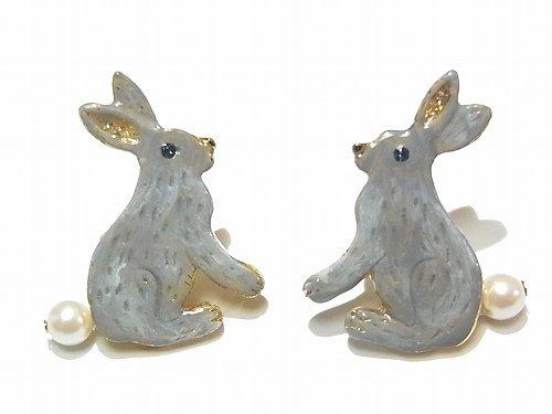 Leps イヤリング (カラー:グレー) 【 Luccica / ルチカ 】 【ゆうメール 送料無料 】 ウサギ アクセサリー 兔 動物 個性的 カワイイ パール 人気 ラビ…