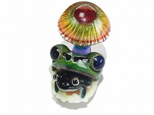 こんにちは  【 kengtaro / ケンタロー 】 キノコ カエル ボロシリケイトガラス 職人 作家 蛙 かえる フロッグ 一点 カラフル 芸術 個性的 菌 き…