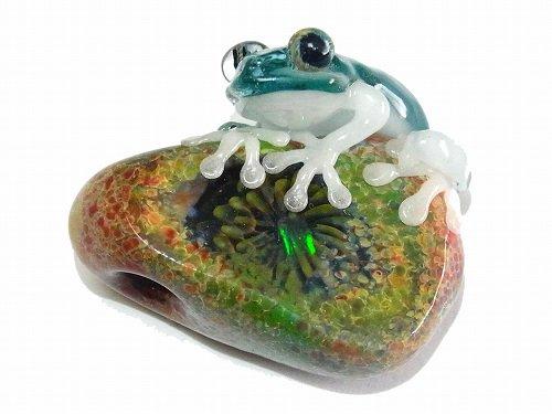 『 彩 いろどり 』【 kengtaro / ケンタロー 】  カエル ボロシリケイトガラス 職人 作家 蛙 かえる フロッグ 一点 カラフル 芸術 個性的 かわいい おし…