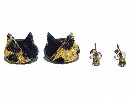 ハラコミケ猫 ピアスセット (ブラック×ぶち) 【KAZA/カザ】【ゆうメール送料無料】アクセサリー ねこ ネコ キャット アニマル 動物 レディース カワイイ ハ…