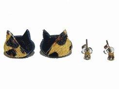 ハラコミケ猫 ピアスセット (ブラック×ぶち) 【KAZA/カザ】【ゆうメール送料無料】アクセサリー ねこ ネコ キャット アニマル 動物 レディース カワイイ ハラコ