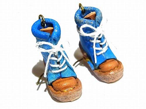 ヒモブーツ ピアス ( カラー: ブルー )【 もりや ゆか 】 ハンドメイド 手作り かわいい 靴 くつ おしゃれ 革 レザー ミニチュア 小人 ナチュ…