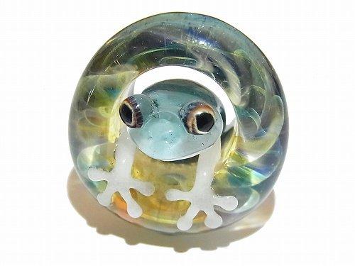 足音 六 【 kengtaro / ケンタロー 】 水たまりに広がる小さな波紋 ボロシリケイトガラス 職人 作家 蛙 かえる フロッグ 一点 カラフル 芸術 個…
