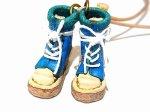 小人のブーツ ネックレス (カラー:ブルー)【 もりや ゆか 】 ハンドメイド レザー アクセサリー レディース 手作り 牛革 革製品 小物