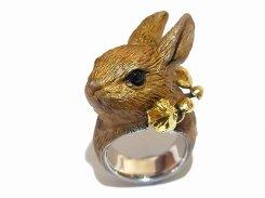 ウサギきのこ リング (シルバー×真鍮) 【 DECO vienya / デコ ヴィーニャ 】【 送料無料 】 ハンドメイド アクセサリー ジュエリー 動物 りす 栗鼠 リス かわいい 指輪