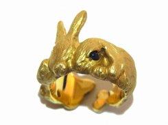じゃれウサ リング (真鍮×人工サファイア) 【 DECO vienya / デコ ヴィーニャ 】【送料無料】 ハンドメイド アクセサリー ジュエリー 動物 りす 栗鼠 リス かわいい 指輪