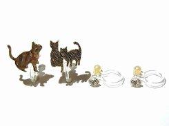 ご近所ネコさん ノンホール ピアス(GD) 【KAZA/カザ】【メール便送料無料】アクセサリー ねこ ネコ キャット アニマル 動物 レディース カワイイ