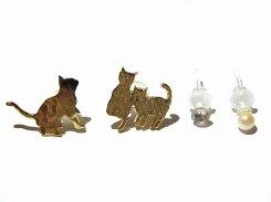 ご近所ネコさん ピアス(GD) 【KAZA/カザ】【メール便送料無料】アクセサリー ねこ ネコ キャット アニマル 動物 レディース カワイイ