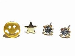 smiling セットピアス (マットゴールド×クリア)【Luccica/ルチカ】 【ゆうメール送料無料】 アクセサリー 個性的 おもしろ かわいい レディース ラブリー キュート 笑顔 星