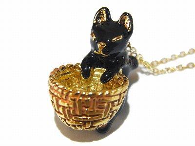 かごにひょこんとミルキーキャット ネックレス 黒猫 【KAZA/カザ】【ゆうメール送料無料】黒 にゃんこ アクセサリー 動物 黒ネコ レディース ジュエリー  アニマル かわ…
