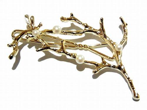 サンゴと小粒パールのダボピン (カラー:ゴールド) 【 Luccica / ルチカ 】【ゆうメール 送料無料 】 髪留め オシャレ ヘアクリップ 個性的 枝 ヘア クリ…