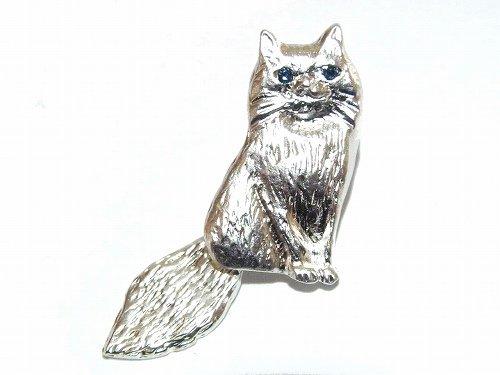 『 おすましネコ ブローチ 』 (シルバー×ブルー)【 Luccica ルチカ 】【ゆうメール送料無料】 ネコ 猫 キャット アニマル カワイイ 動物 アクセサリー レディース ナチュ…