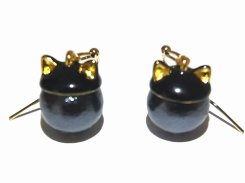 『 猫耳パール ピアス (ブラック)』【 KAZA カザ 】【ゆうメール送料無料】 猫 ネコ アクセサリー ジュエリー かわいい キャット ねこ アニマル 猫耳