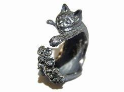 素敵なしっぽ猫 リング (素材: シルバー)【 ホアシ ユウスケ Yusuke Hoashi 】 指輪 個性的 アクセサリー かわいい キャット ねこ 猫