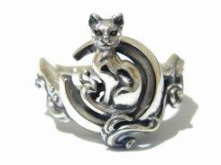 月とネコ  リング (10号) 【 PASSIONE / パッショーネ 】  シルバー 925 アクセサリー 指輪 ねこ 猫 ネコ キャット アニマル シンプル 限定 誕生日 待ち かわいい