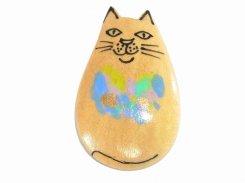 ウッドねこ  ブローチ 【 Luccica ルチカ 】 かわいい お洒落 レディース キッズ キャット 猫 動物 アニマル チャーム メルヘン