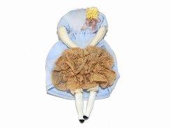 壊れたギニョールブローチ (水色のワンピース×ブラウンのレース)(壱) 【 nikibbit ニキビット 】 人形 ハンドメイド お洒落 可愛い