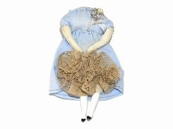 壊れたギニョールブローチ:水色のワンピース×グレーのレース (弐) 【 nikibbit ニキビット 】 お洒落 人形 変わった 珍しい かわいい