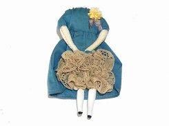 壊れたギニョールブローチ (ブルーのワンピース×ブラウンのレース)(弐)【 nikibbit ニキビット 】 人形 ハンドメイド お洒落