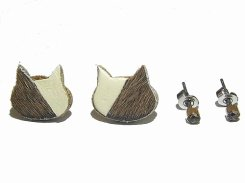 ハラコ猫 ピアスセット (カラー:アイボリー×ブラウン)【KAZA/カザ】【ゆうメール送料無料】アクセサリー ねこ ネコ キャット アニマル 動物 レディース カワイイ ハラコ