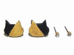 ハラコ猫 ピアスセット (カラー:ブラック×ブラウン)【KAZA/カザ】【ゆうメール送料無料】アクセサリー ねこ ネコ キャット アニマル 動物 レディース カワイイ ハラコ