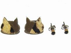 ハラコミケ猫 ピアスセット (カーキ×ぶち) 【KAZA/カザ】【ゆうメール送料無料】アクセサリー ねこ ネコ キャット アニマル 動物 レディース カワイイ ハラコ