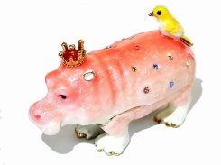 『 ピンククラウンカバ 』 【 ピィアース Piearth Japan 】アクセサリー ジュエリー ボックス 鳥 置物 インテリア かわいい モチーフ オブジェ 王冠 キング