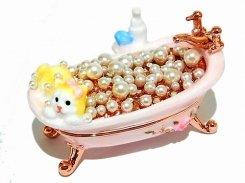 『 ミニチュアバス ジュエリーボックス 』(ピンク) 【 ピィアース Piearth Japan 】アクセサリー ジュエリー 風呂 ネコ 猫 キャット 置物 インテリア かわいい モチーフ オブジェ