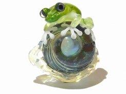 カタツムリ 拾 【 kengtaro ケンタロー 】 カタツムリ カエル ボロシリケイトガラス 職人 作家 蛙 かえる フロッグ 一点 カラフル 芸術 個性的 かたつむり